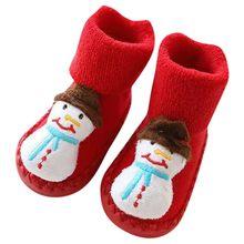 Носки для новорожденных милые рождественские носки на Рождество для маленьких мальчиков и девочек Нескользящие Детские носки хлопковые не...(China)