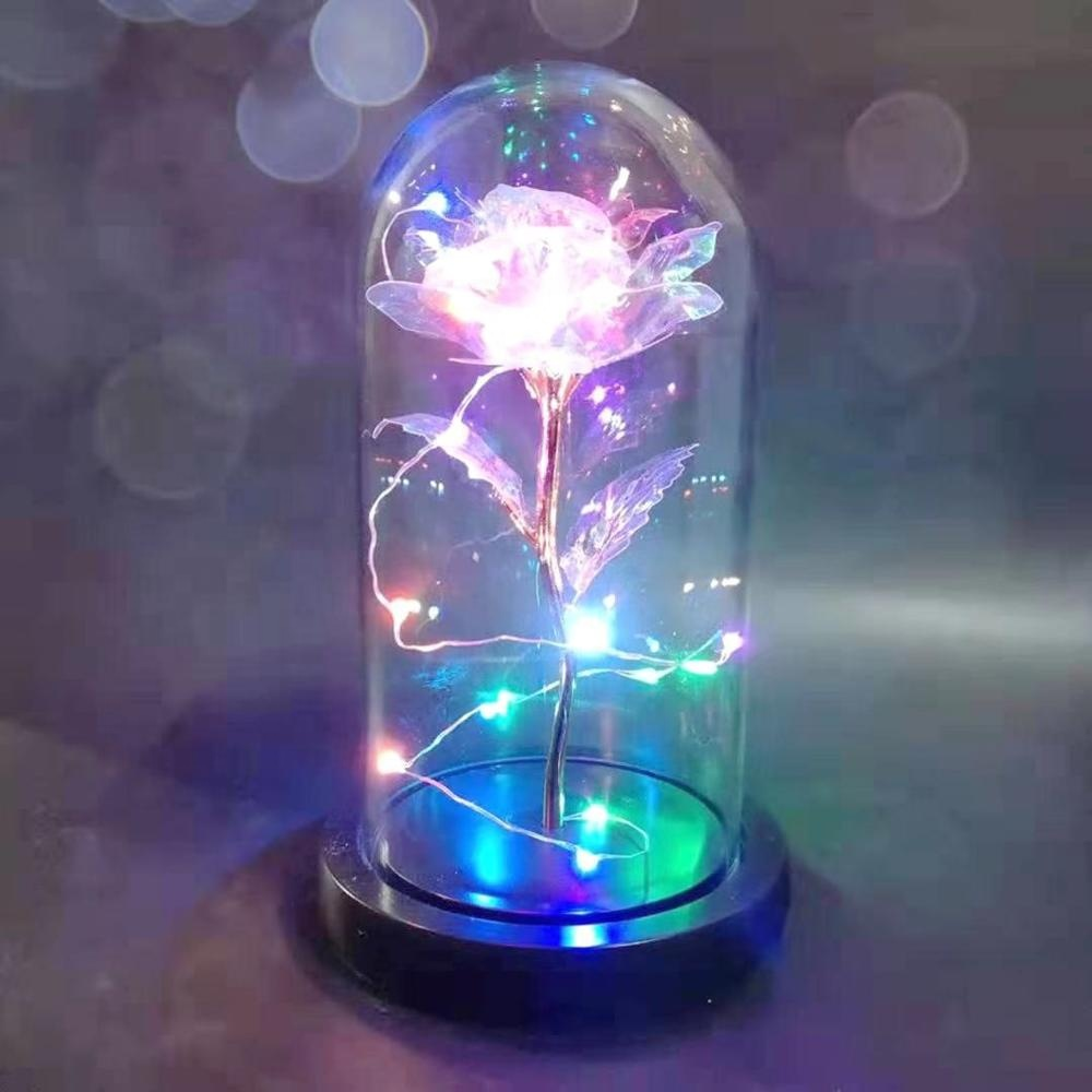 A-1406 LED Licht String Auf Die Bunte Gold Folie Blumen Galaxy Rose In Glas Dome