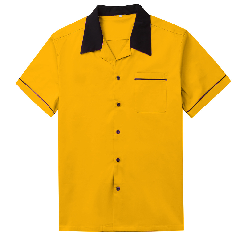 Vintage Bowling Cotton Yellow Casual Short Sleeve Men's T-Shirt
