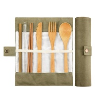 wholesale Bamboo Cutlery Set Bamboo Travel Utensils Include Reusable Knife Fork Spoon Chopsticks Straws
