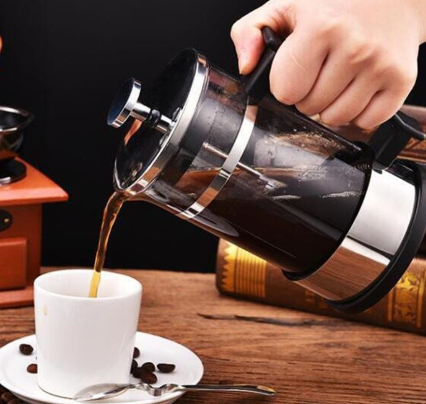 Hot Jual 350 Ml 600 Ml 1000 Ml Stainless Steel Kaca French Press Kopi Portable Kopi French Press
