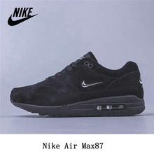 Оригинальные кроссовки Nike Air Max1 max87 Pig Eight Leather для мужчин и женщин, спортивная обувь для бега, размер 36-45, черный цвет()