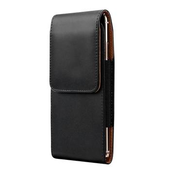 Black Universal Holster for iPhone 11 Pro Max Xs Max XR 8 7 6S Plus Leather Case Belt Clip Holster Cell Phone Carrying Pouch