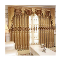 Latest Curtain Fashion Designs Luxury Curtains With Valance, European Embroidery Chenille Curtain Fabrics/