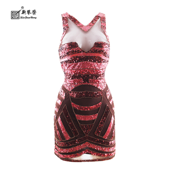 Red V Neck Sequin Glitter Bodycon Stretchy Mini Party Dress Fancy Midi Dress Halloween Costume