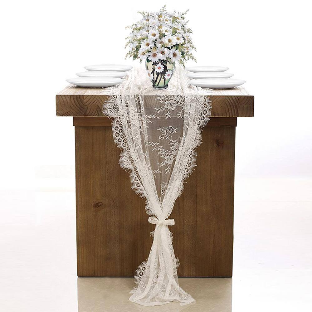 OurWarm Boho Wedding Baptism Party Decoration  300cm White Lace Table Runner Cloth Chair Sash For Table Banquet Dinner Room