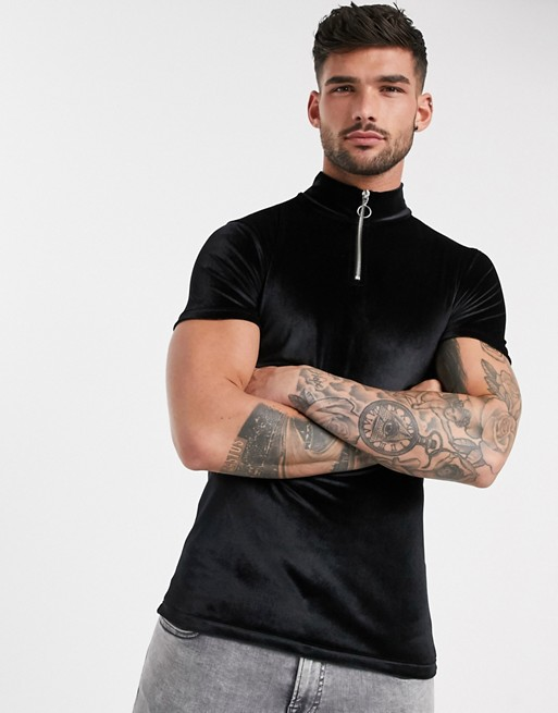 KY turtle zip neck Short sleeves black velour tshirt muscle t-shirt