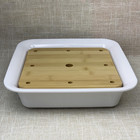 Chaozhou manufacture hot sale cheap matte white square wood lid melamine sushi dry ice plate