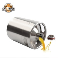 Homebrew Stainless Steel 304 Beer Keg 2L 3.6L 4L 5L 10L Mini Draft Beer Growler Beer Barrels with Sleeves and CUSTOM LOGO