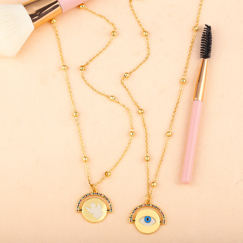 European Gold Chain Cute Turkish Eyes Coin Necklace Long Chain Round Angle Devil Eye Pendant Necklace For Girls
