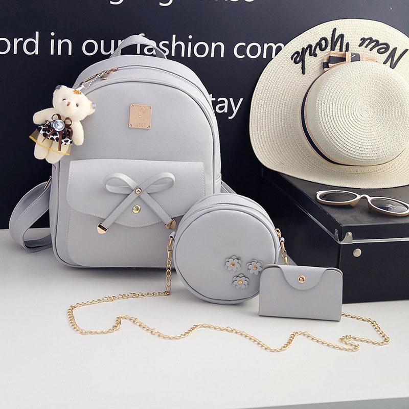 Fashion Borse Donna Firmate Bow Round Bag Women Backpack 3pcs Set Backpack Bag Girl