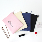 Personalized 12oz cotton custom logo canvas cosmetic pouch makeup bag with zipper