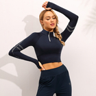 Hot Deal [ Sport ] Woman Fitness Red Women's Long Sleeves Yoga Fitness Gym Sport Crop Top T Shirt With Bra