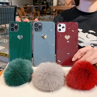 Glitter Love Heart for iPhone Xs Max Case for Girls Bling 11 Max Soft TPU Glossy Cute 7 8 Plus X Phone Shell Cases with Fur Ball