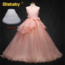 Летние платья с цветочной аппликацией для девочек на свадьбу, детское праздничное вечернее платье, платья для первого причастия для подрос...(China)