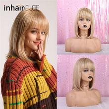 ESIN Женский парик смешанного типа 35 см Прямые шелковистые волосы 70% натуральных волос Парик каре с прямой ровной челкой на вечеринку, косплей(Китай)