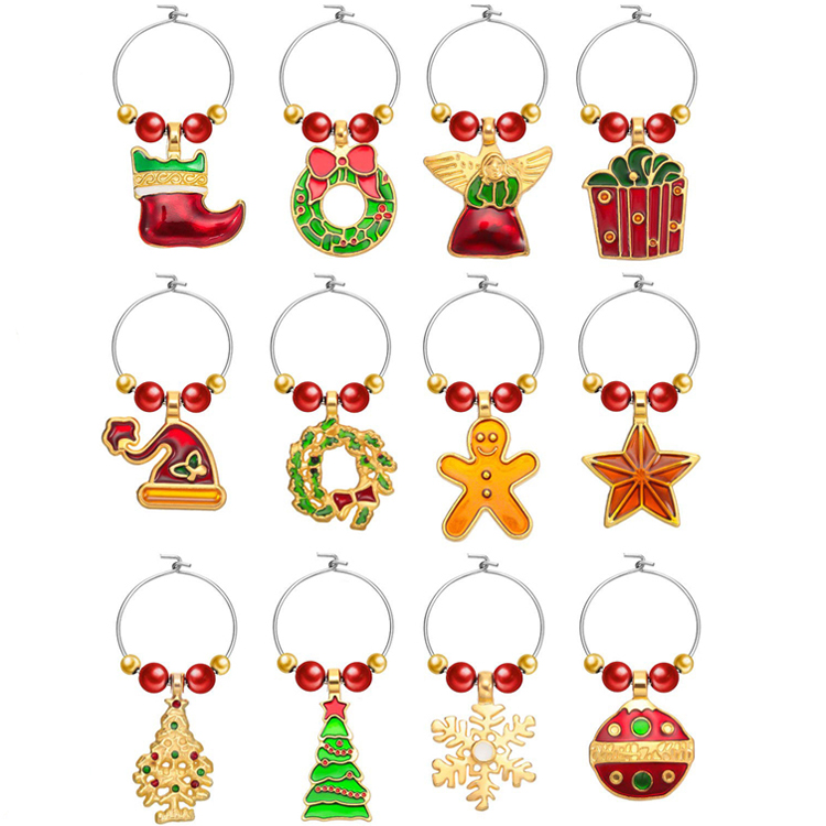 New product ideas 2020 wine accessories 1set christmas wine charms to identify your wine glasses in a crowd