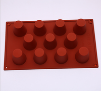 New Chocolate 11 Cavity Square Dessert Pudding Silicone Molds For Cake Decorating