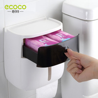 Punch-free wall-mounted plastic waterproof tissue box double paper towel holder