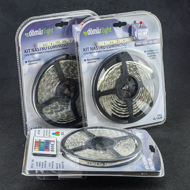 Hot selling in amazon outdoor/indoor  decoration smd 5050 blister packaging 5 meter kit 12v/24v led strip lights with power