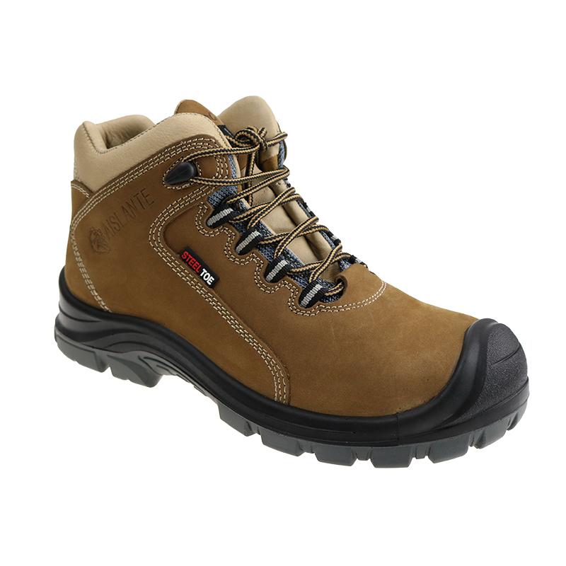 Kulit PU Injeksi Outsole Safety Sepatu Kerja Pria Dewasa Tinggi Dipotong Sepatu Steel Toe dan Piring