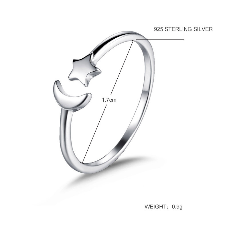 Wholesale Fashion jewelry 925 Sterling Silver open adjustable ring Moon Star Ring Engagement Rings for Women Girls