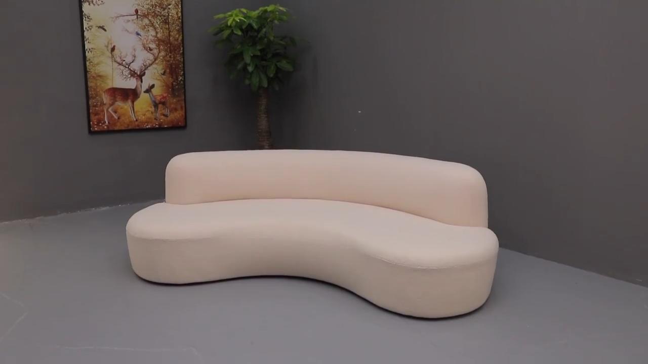 Europea moderna francés cómodo curva sofá de piel de oveja de piel de cordero de tela 4-seater sofá grande 240