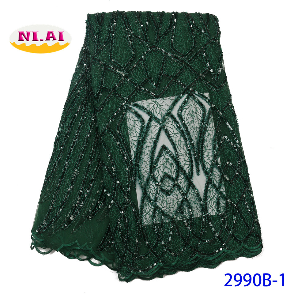Hottest Emerald Green Sequence Lace High Quality Nigeria Net Lace Embroidery Bridal Lace For Wedding