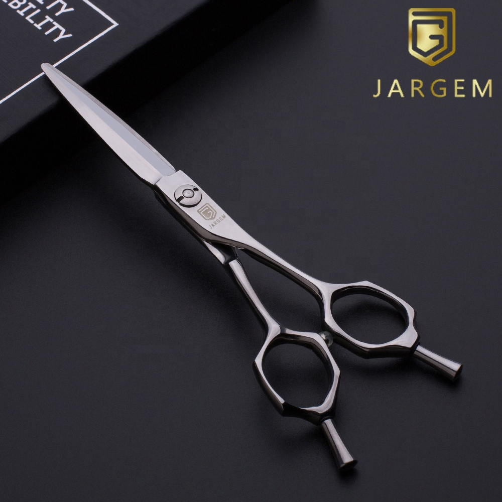 Curved handle hairdressing scissors 6 inch barber hair scissors