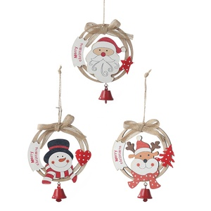 Snowman christmas tree hanging decoration family wooden pendant with bell ornaments