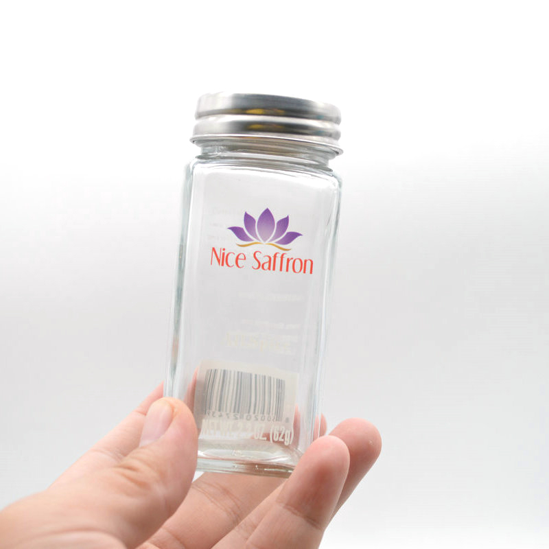 120ml 4oz Square seasoning  empty glass Spice Jars with airtight silver Lids Shaker tops