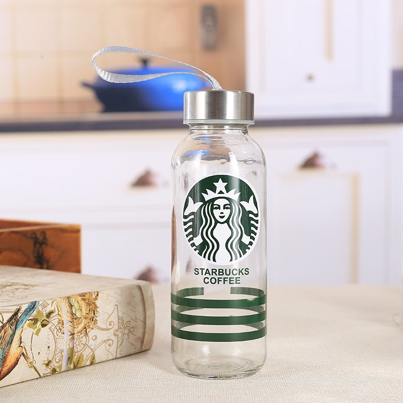 Factory supply clear unbreakable  portable glass drinking water bottles with custom logo