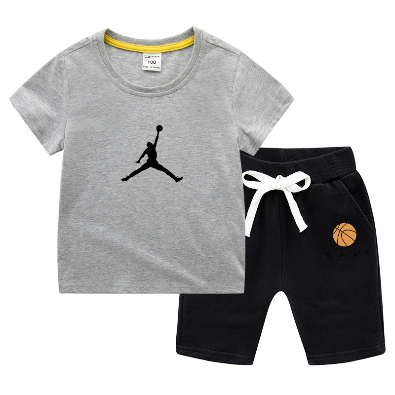 2020 Kid Boys Clothes Cartoon Printed Basketball T-shirt Top+ Pant Boys Outfits Kids Clothing For Little Boys Set