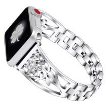 JANSIN, новинка, бриллиантовый ремешок для часов Apple Watch, 38 мм, 42 мм, 40 мм, 44 мм, браслет из нержавеющей стали, ремешок для женщин, браслет для iWatch, р...(China)