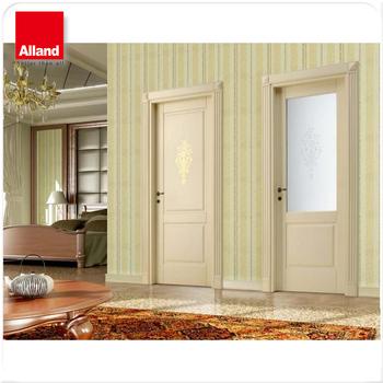 Hdf Molded White Color Interior Solid Wood Door For Villa Building