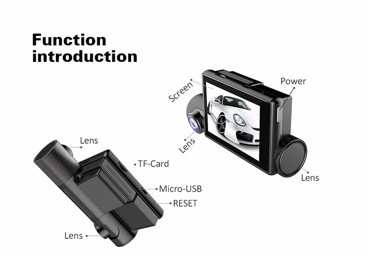 Zimtop 3.0inch 2 in 1 novatek 96660 GPS user manual fhd 1080p car camera dvr video recorder for uber taxi