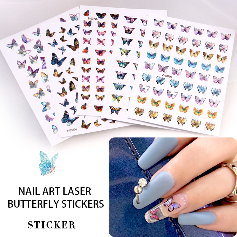 TSZS popular wholesale 3D laser butterflies adhesive butterfly <strong>nail</strong> decals 2020 <strong>nail</strong> art decoration <strong>nail</strong> <strong>sticker</strong>