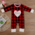 Valentine's Day Boutique Red And Black Buffalo Plaid Footed Sleeper Embroidery Love Baby Clothes Romper