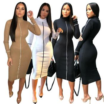 High Collar Long Sleeve Midi Dress White Green Black Khaki Gray Pink High Quality Bodycon Night Party Fashion Dress RS00159