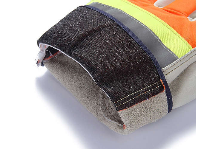 Hi-vis safety top cow grain leather reflective strap hand protection gloves for industrial construction work