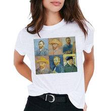 Футболка с принтом Ван Гога и маслом, женская футболка с короткими рукавами, мягкая эстетичная летняя одежда для девушек, топы и(China)