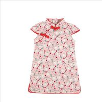 Chinese Cheongsam Summer Children Girls Dress Kids Short Sleeve Print Dresses Princess Cute Cotton Cheongsam