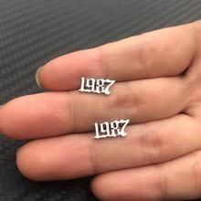Изготовленные на заказ ювелирные изделия специальный номер года из нержавеющей стали женские серьги-гвоздики Bijoux от 1980 до 2019 персонализиро...(Китай)