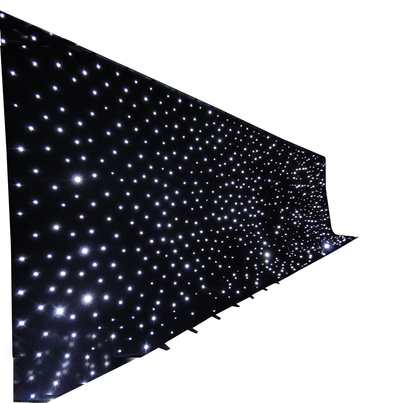 Stage Effect Light Blue and White LED Star Cloth Wedding Backdrop LED Star Curtain Lights