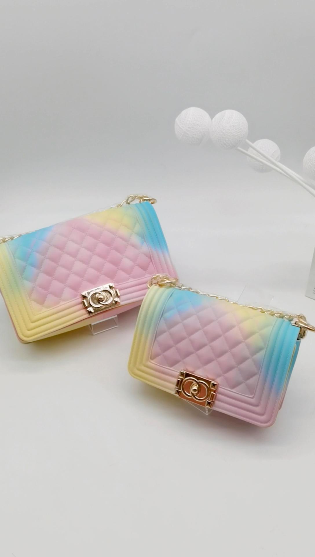 Neue stil Heißer verkauf Bunte Kette damen handtaschen PVC Gelee crossbody designer handtaschen berühmte marken