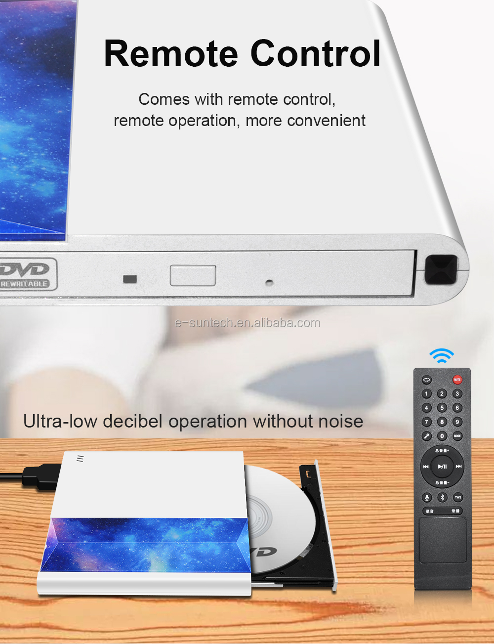 TV Support! E-Sun HD External DVD RW Drives Burner Type C & USB 3.0 DVD Drive compatible for TV and laptop