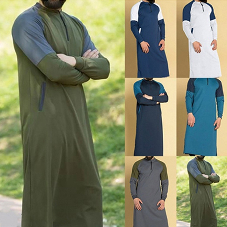 Mens Shirt Indian Suit Long Sleeve Cotton Casual Men Long Shirt Tops Islamic Muslim Clothes Men 2019 S-3XL