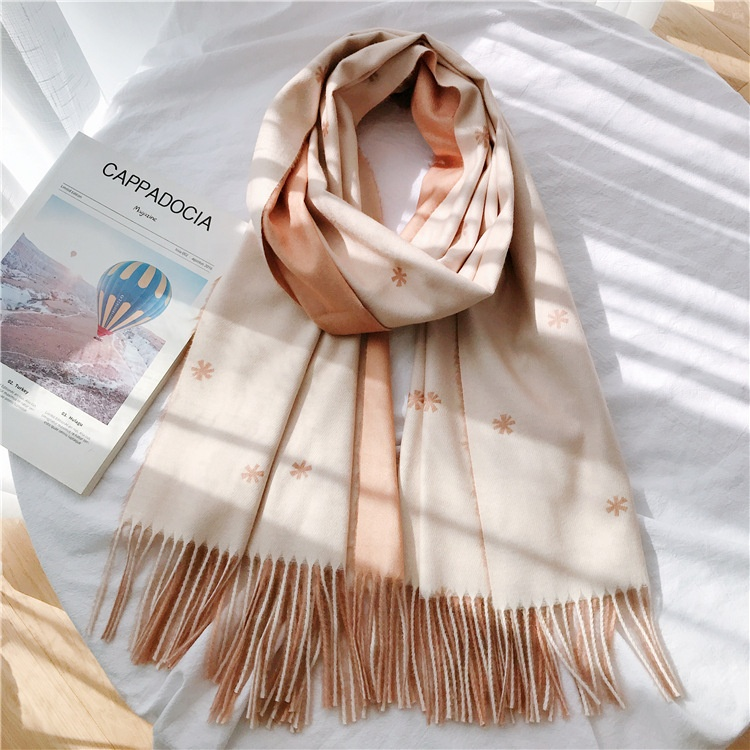 Snow Print Blue Scarf for Women 2 Colors Tessel Winter Scarves Stole Khaki Beige Female Shawl <strong>Faux</strong> Cashmere Ladies Scarfs <strong>Wrap</strong>