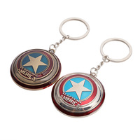 Customized movie peripheral Avengers US captain shield metal keychain car advertising key ring ring pendant