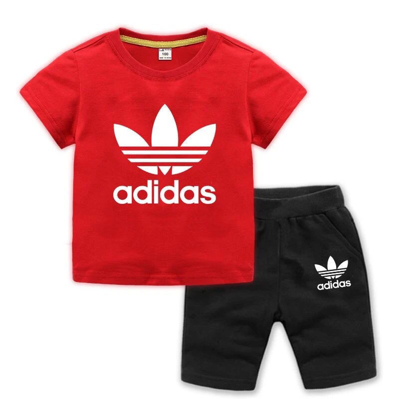 Summer Casual Children Cotton Print Clothing Set for Boys Letters Sport Clothing Tie Shir+ Short Pants Suit Set kids 2 pcs